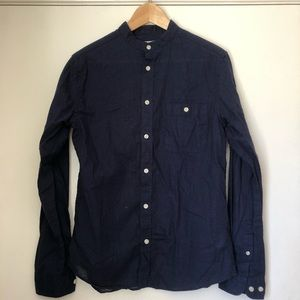 Navy Blue Banded Collar Linen Shirt